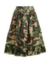 JUNYA WATANABE High-rise camouflage-print pleated skirt / frill hem camo print skirts