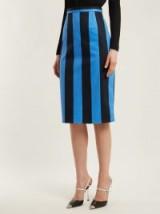 PRADA High-rise striped denim pencil skirt ~ tonal-blue stripe skirts