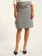 BALENCIAGA Houndstooth chain-belt pencil skirt / check print skirts / charm embellished belts