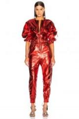 ISABEL MARANT Athina Jumpsuit   red shiny jumpsuits