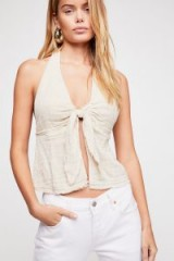 Endless Summer Island Feels Halter Natural | front tie halterneck tops