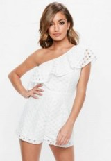 MISSGUIDED ivory one shoulder lace frill playsuit ~ summer evening style playsuits