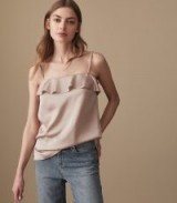 REISS JESSICA BLUSH PINK FRILL FRONT CAMI TOP / ruffled camisole