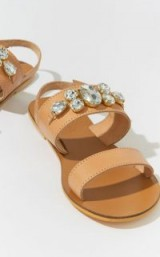 WAREHOUSE JEWELLED LEATHER SANDAL / crystal flats