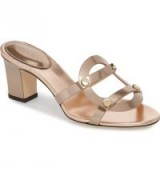 JIMMY CHOO Damaris Strappy Slide Sandal Tea Rose ~ metallic leather mules