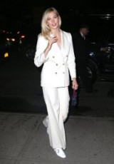 Karlie Kloss white wide leg pants, BELLA FREUD Bianca high-rise wool trousers in ivory, out for the evening in New York, 11 April 2018. Celebrity outfits | models evening style