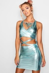Kat Cross Tie Waist Holographic Bodycon Dress / shiny blue dresses