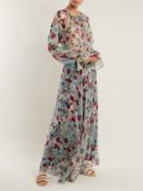 RAQUEL DINIZ Kate floral-print blue silk gown