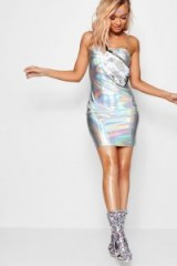 Kaya Holographic O Ring Bodycon Dress / shiny silver dresses