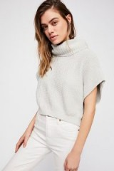 Free People Keep It Simple Vest in Ice | light grey high neck knitted tops