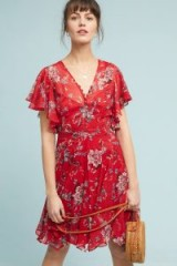 Ranna Gill Keira Floral Dress in red motif | feminine flutter sleeve dresses