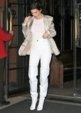 Kendall Jenner metallic blazer, skinny jeans and over the knee boots ~ models outfits