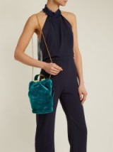 BIENEN-DAVIS Kit teal-green velvet clutch ~ luxe gold chain shoulder strap bags