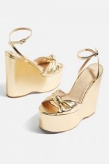 Topshop Knot Two Part Wedges | gold metallic wedges | shoe envy | 70s style glamour