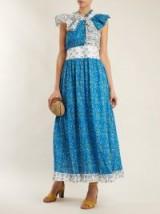 GÜL HÜRGEL Knot-front blue cotton dress ~ feminine summer dresses