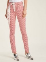ROCKINS Lace-up high-rise jeans ~ red and white stripe skinnies ~ striped denim