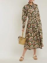 RHODE RESORT Laura floral-print cotton dress / green belted spring-time dresses