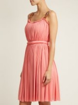 ALEXANDER MCQUEEN Leather buckle-strap jersey dress ~ pink pleated dresses