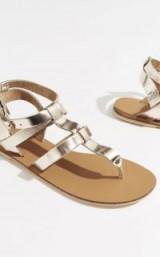 WAREHOUSE LEATHER T-BAR SANDAL Gold | metallic summer sandals