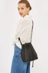 Topshop Black Leather Woven Bucket Bag