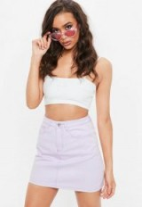 MISSGUIDED lilac washed a line denim mini skirt