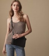REISS LILIAN METALLIC KNITTED V-NECK TOP ROSE GOLD / fine knit tank tops