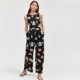 WAREHOUSE LILY PRINT JUMPSUIT / black floral sleeveless jumpsuits