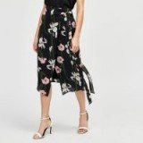 WAREHOUSE LILY PRINT WRAP MIDI SKIRT / asymmetric floral skirts