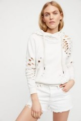 NSF Lisse Pullover in Soft White | distressed hoodies