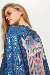 TOPSHOP 'Living The Dream' Cape / shiny sequin slogan jackets