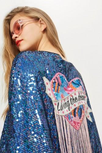 TOPSHOP 'Living The Dream' Cape / shiny sequin slogan jackets