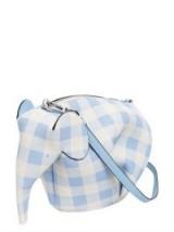 LOEWE ELEPHANT LIGHT-BLUE GINGHAM LEATHER SHOULDER BAG