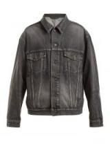 BALENCIAGA Logo-embossed denim jacket ~ washed-black jackets