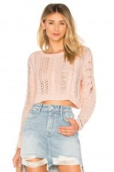 Lovers + Friends DISTRESS ME OUT SWEATER Light Pink | distressed cropped jumpers
