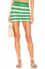 Lovers + Friends LILY SKIRT Green & White | semi sheer knitted mini skirts | crochet fashion