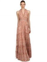 LUISA BECCARIA ROSES PRINTED GEORGETTE DRESS / pink floral maxi dresses