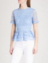 MAJE Loseray embroidered-lace top – blue peplum tops