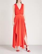 MAJE Renile gathered satin midi dress ~ long red sleeveless occasion dresses