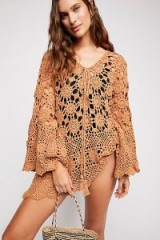 FREE PEOPLE Mandala Crochet Tunic in Camel | boho knitted tops