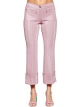 MARCO DE VINCENZO FLARED LUREX PANTS / shimmering pink cropped trousers