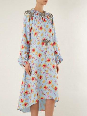 DODO BAR OR Marisa floral-print crystal-embellished dress / elegant ruched neckline dresses - flipped
