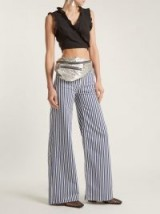 ROCKINS Mega Loon high-rise wide-leg striped jeans ~ blue and white stripe flares ~ striped denim
