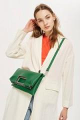 Topshop Metal Handle Clutch Bag | green fold-over bags