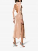 Michael Lo Sordo Open Back Stretch Jersey Dress ~ slinky nude high shine dresses