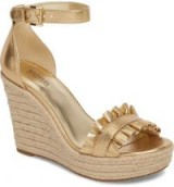 MICHAEL MICHAEL KORS Bella Espadrille Wedge Sandal | gold metallic ruffle wedges