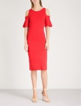 MICHAEL MICHAEL KORS Cold-shoulder fitted knitted dress true red