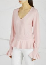 MILLY Light pink stretch-knit jumper ~ frill trim jumpers