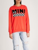 MINI CREAM Checkerboard cotton-jersey sweatshirt / red logo print sweatshirts