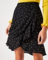 JIGSAW MINI DASH WRAP SKIRT / black frilled skirts