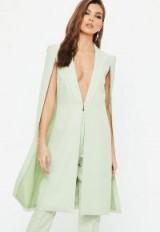 Missguided mint green longline cape blazer – long line jackets – tailored looks